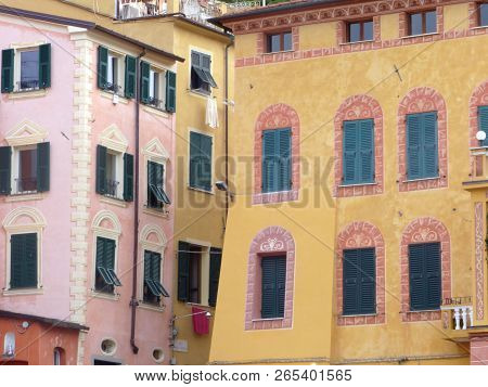 View Of The Characteristic Houses Of Liguria - Italy