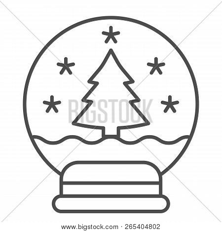 Snowglobe thin line icon. Xmas ball vector illustration isolated on white. Glass snowball outline style design, designed for web and app. Eps 10. poster