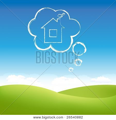 Cloud House In Air Over Grass Field