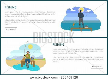 Fishing People Hobbies Set On Web Posters With Push Buttons. Mens Activities Vector Illustration Of