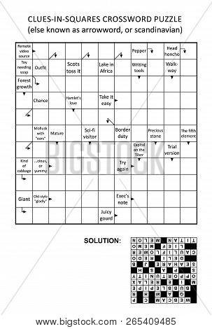 Clues-in-squares Crossword Puzzle, Or Arrow Word Puzzle, Else Arrowword, Scandinavian, Or Scanword,