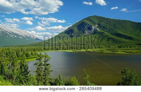 Sunny Day At Vermillion Lakes Viewpoint At Banff, Alberta, Canada