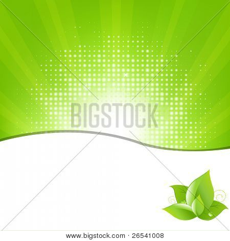 Green Background With Beams And Leaves, Vector Illustration