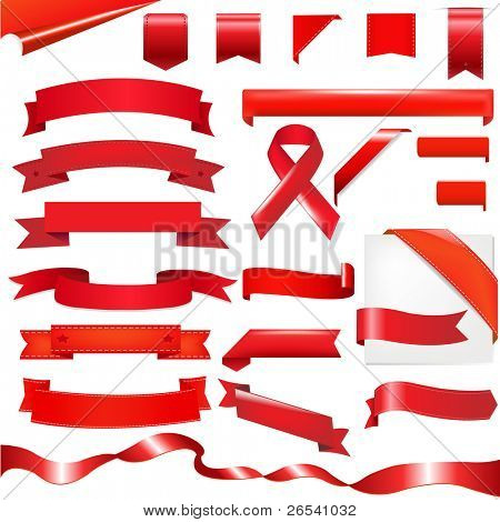 Red Ribbons Set, Isolated On White Background, Vector Illustration