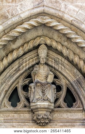 Statue Of The Saint Mark On The Portal Of The Cathedral Of Saint Mark In Korcula, Croatia, Built By