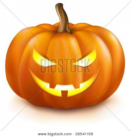 Pumpkin, Isolated On White Background, Vector Illustration