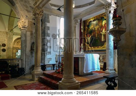 Korcula, Croatia, August 1, 2018: Altarpiece Painted By Tintoretto In The Cathedral Of Saint Mark In