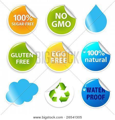Eco Symbols Eco Labels Set, Isolated On White Background