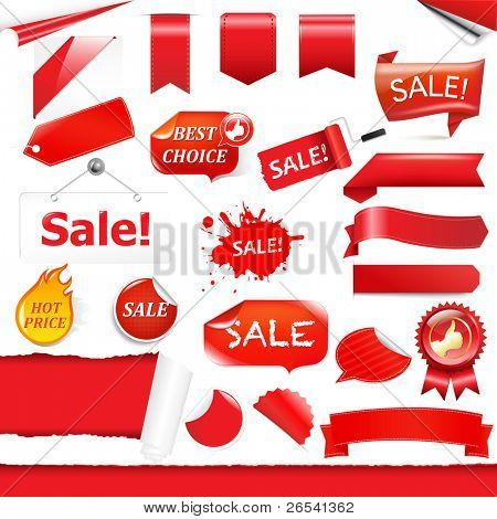 Red Labels And Ribbons Set, Isolated On White Background, Vector Illustration