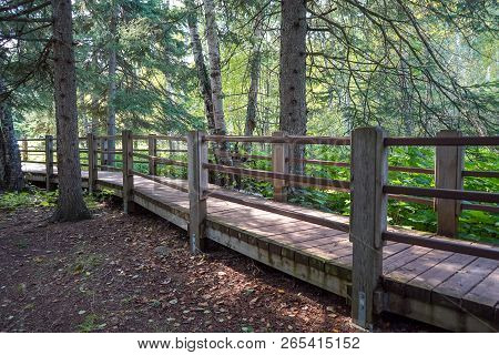 Wooden Walking Trail At Gooseberry Falls State Park