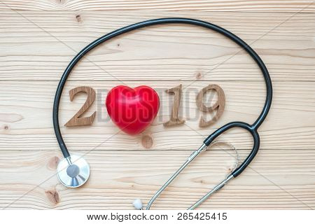 2019 Happy New Year For Healthcare, Wellness And Medical Concept. Stethoscope With Red Heart And Woo