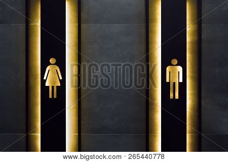 Female And Male Restroom Sign. Restroom Signs In Public Place. Important Signs And Symbols Concept.