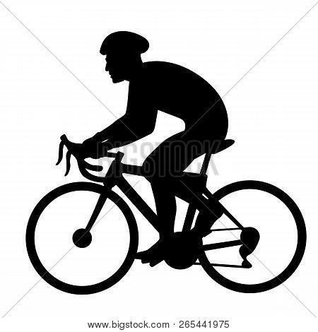 Bicyclist Vector Illustration  Black Silhouette Profile Side