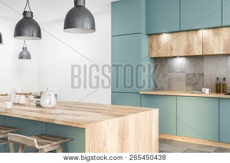 Green Kitchen Corner With Bar Close Up