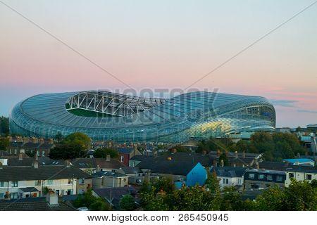 Dublin, Ireland - October 20, 2018: View Of Aviva Stadium, Dublin City In Autumn Sunset Light In Oct