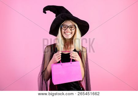 Shopping Center. Halloween Sales. Discount, Sale, Autumn Sales. Girl In Halloween Witch Costume With