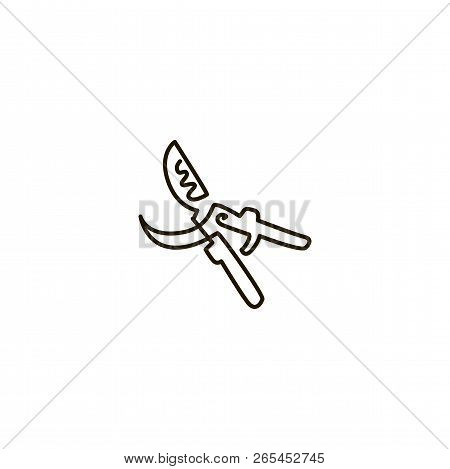 Vector Line Icon. Open New Professional Secateur Or Garden Pruner Close Up. One Line Drawing. Isolat