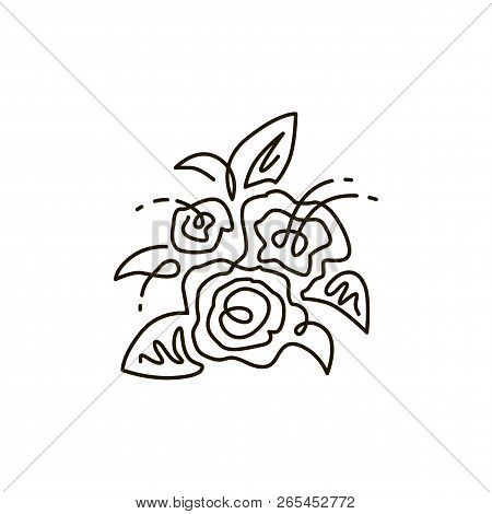 Vector Line Icon. Bouquet Of Flowers. Top View. One Line Drawing. Isolated On White Background. Cont