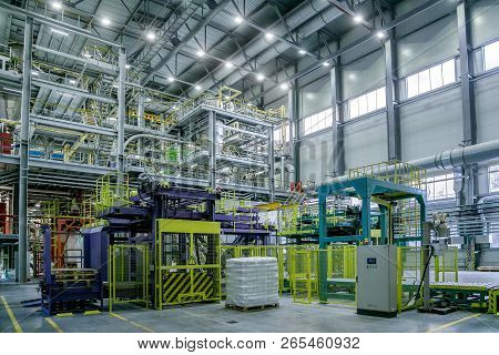 Chemical Factory. Thermoplastic Production Line. Production And Packing Machinery In Large Area Of I