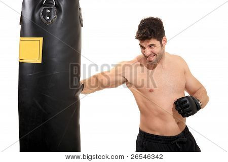 Young Boxer Exercising On Boxing Bag