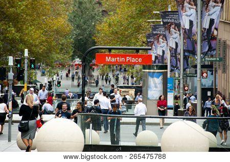 Sydney, Australia - April 4, 2018: People On Martin Place Pedestrian Mall Street