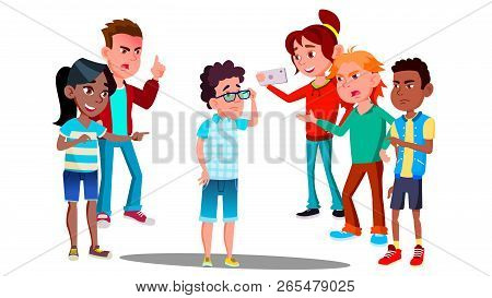 School Conflict, Sad Teenager Is Surrounded By Classmates Ridiculing Him Vector. Isolated Illustrati