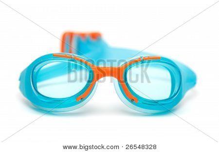 Blue Glasses For Swim On White Background