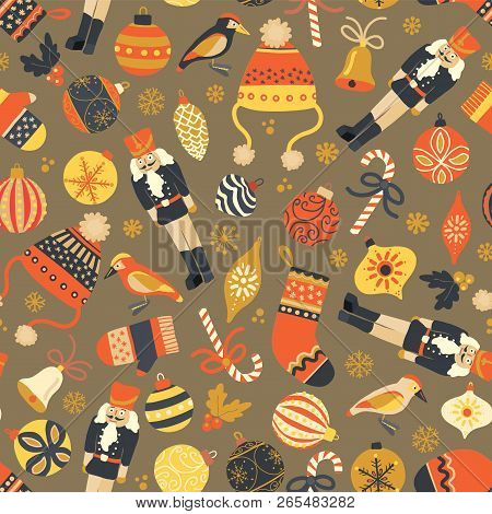 Christmas Seamless Vector Pattern Vintage Background. Nutcracker, Hat, Mitten, Stocking, Candy Cane,