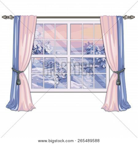 The Window Overlooking The Sunrise In A Snowy Field In Winter Isolated On White Background. Interior