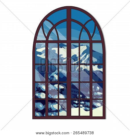 The Window Overlooking The Snow-capped Mountains In Winter Isolated On White Background. Interior De