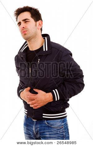 Young man with strong stomach pain isolated on white background