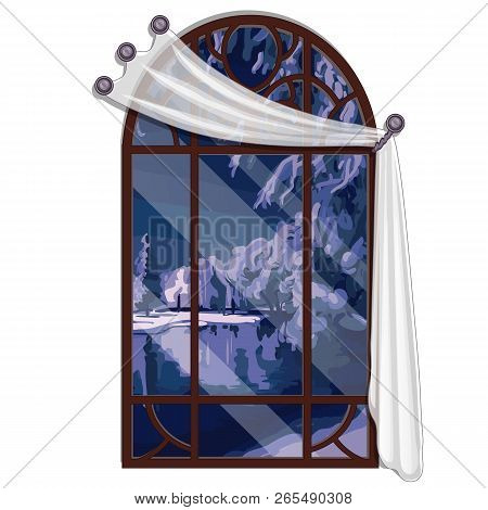 The Window Overlooking The Forest River In Winter Evening Isolated On White Background. Interior Des