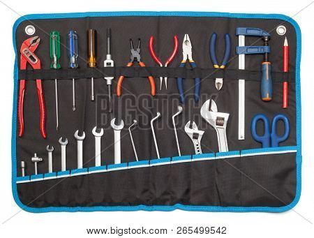 Toolbelt with set of tools - screwdrivers nippers wrenches spanners pliers  scissors isolated on white - DIY consept poster