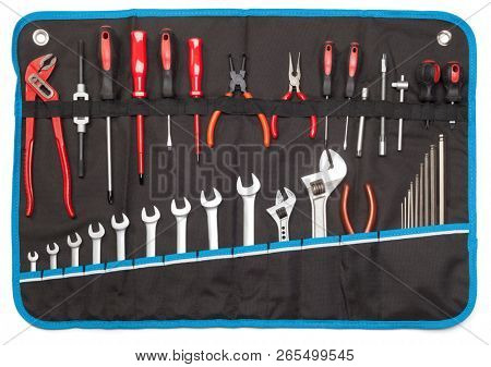 Toolbelt with set of tools - screwdrivers nippers wrenches spanners pliers allen keys isolated on white - DIY consept poster