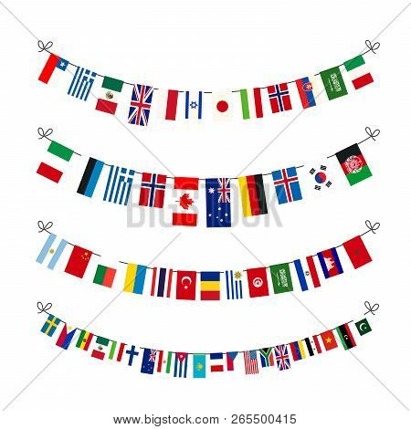 Set Of Garlands With True Proportions Flags Of World Sovereign States Isolated On White