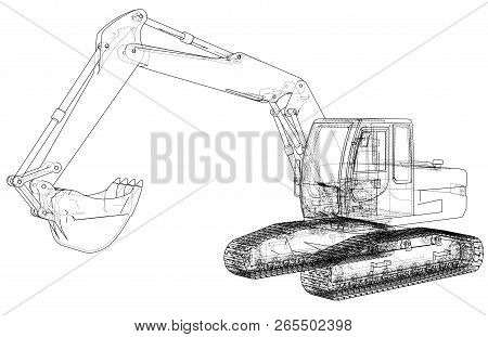 Excavator Concept Outline. Vector Rendering Of 3d. Wire-frame Style. The Layers Of Visible And Invis