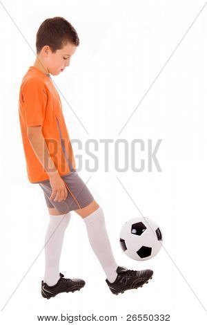 Boy with soccer ball. Isolated on white