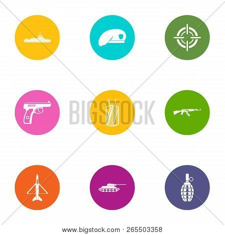 Military Member Icons Set. Flat Set Of 9 Military Member Icons For Web Isolated On White Background