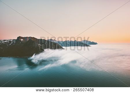 Sunset Mountains And Sea With Clouds Aerial Landscape In Norway Travel Vacations Tranquil Scenery Se