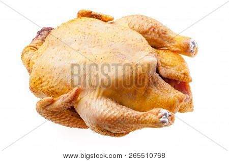 Raw Turkey Isolated Fresh Chicken Carcass. Fowl On White Background