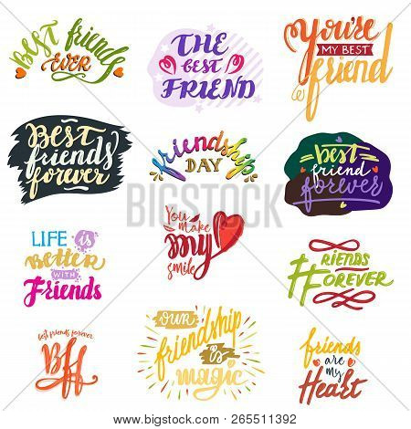 Friend lettering vector friendship card typography and friendly calligraphy logotype design with text label illustration handwritten set of friendliness quote on poster isolated on white background poster