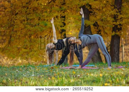 Group Of Young Women Doing Yoga Exercises In The Autumn City Park. Health Lifestyle Concept.