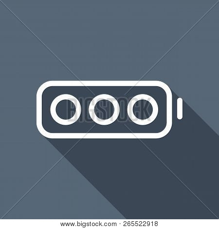 Simple Empty Battery, None Level. White Flat Icon With Long Shadow On Background