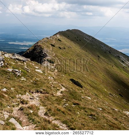 Maly Baranec Mountain Peak Covered By Mountain Meadow In Zapadne Tatry Mountains In Slovakia During