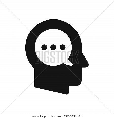 Human Head Profile With Speech Bubble Symbol, Inner Monologue, Thoughts Concept Simple Black Icon, V