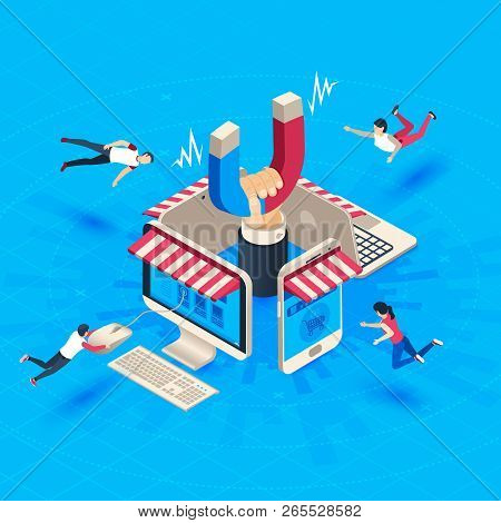 Web Store Customer Attraction. Attract Buyers, Isometric Retain Loyal Clients And Social Media Busin