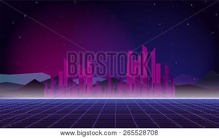 80s Retro Future. Retro Futuristic Background 1980s Style. Retro Background Futuristic Landscape 198