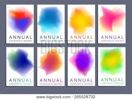 Vector Template Covers With Abstract Gradient Pattern. Modern Set Of Vector Covers With Gradient Pat