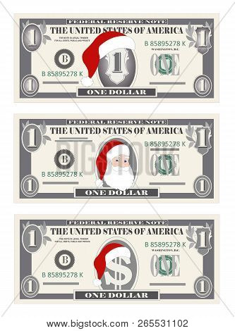 Design Template One Dollar Banknotes With Santa Claus And Red Hat. 1 Dollar Bill For Christmas Sales