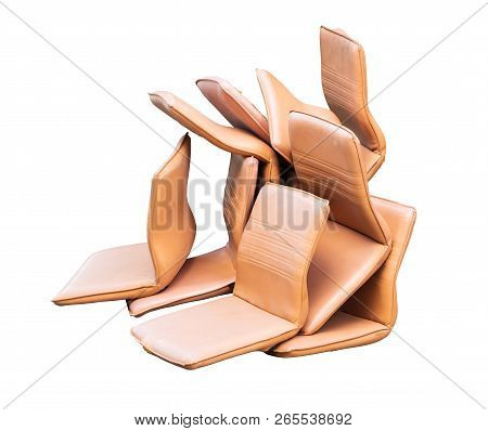 Office Chair Leather Brown Old Damage And Dirty Isolated On White Background. Clipping Path